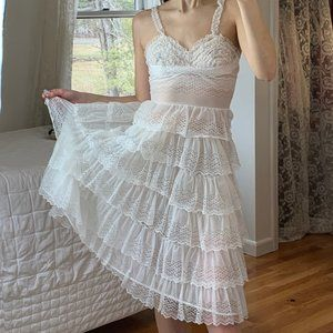 Vintage 1950's Tiered Lace Ruffle Slip Dress Boho